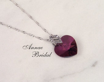 "Purple crystal heart necklace, bridal jewelry, wedding, Swarovski, ""Amore"" lg heart necklace in Lilac Shadow"