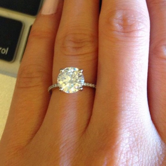 Micro Pave Engagement Ring Round Brilliant