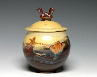 Memorial Urn, Pet Urn, Small Lidded Jar, Pottery Sugar Bowl, Stoneware Storage Jar, Ceramic Canister  Cremation Urn