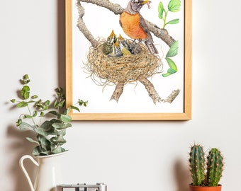 American Robins, Original Watercolor, Nature Painting, Bird Art, Baby Birds, Robins Nest, Wall Art, Mother's Day Gift (11 x 14in.)