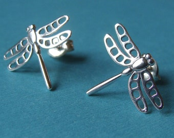 Dragonfly Earrings Dragonfly Studs Sterling Dragonfly Post Earrings Sterling Silver Earrings