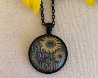 You are My Sunshine Pendant with Black Anxiety Ribbon Necklace - Ladies