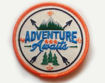 """Quality Adventure Awaits Iron On Patch - 2.78"""" Round - Iron On or Sew On Patch Appliqué"""