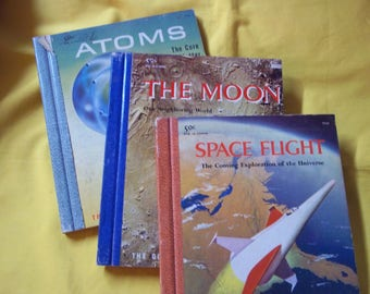 """3 Golden  Library of Knowledge Books - """"Space Flight"""", """"The Moon"""", and """"Atoms, the Core of All Matter"""""""