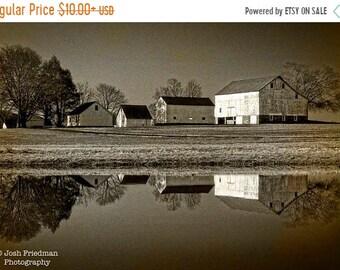 SALE 20% Off Patterson Farm Reflection Photograph,  Sepia Farm Photography, Yardley, Bucks County, Pennsylvania, Pond, Historic, Farmhouse,