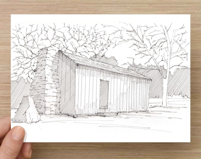 Ink Drawing of historic Mark Twain Cabin in California - Jackass Hill, Mining Cabin, Rustic, Sketch, Art, Pen and Ink, 5x7, 8x10