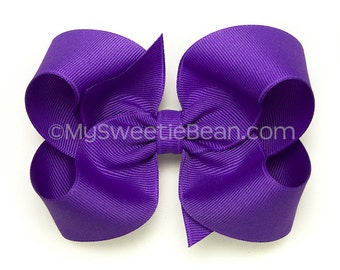 Purple Boutique Bow, 4 inch Hair Bow for Girls, Purple Bow, Basic Bow, Periwinkle Large Boutique Bow for Toddler Girls, Big Bow for Baby