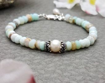 Peruvian opal pearl bracelet