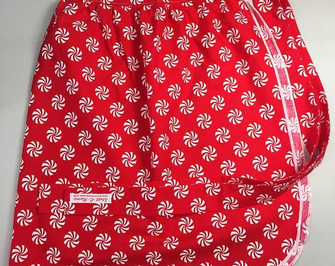 Half Apron - Vintage Pin Up Skirt Style - Christmas Peppermint Starlite Candy
