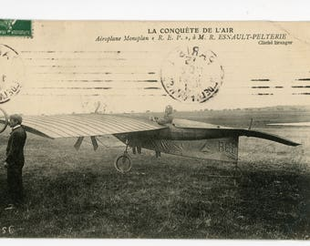 Antique postcard- Photo Engraving c1908 Airplane and pilots.