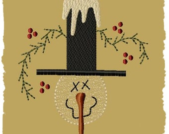 Primitive Machine Embroidery Design-Snowman With Hat -4x4-INSTANT DOWNLOAD