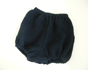 Navy blue cotton gauze bloomers 2/3/4 years