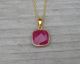 Cushion Cut Natural Ruby Necklace Bezel Set In 24 K Gold Vermeil, Fortieth Anniversary Gift, July Birthstone, Genuine Ruby Pendant