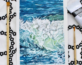 """Breaking Wave - 5""""x7"""" Original watercolor and acrylic painting"""