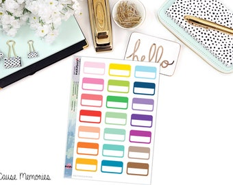 FUNCTIONAL RECTANGLE HALFBOX Paper Planner Stickers - Mini Binder Sized/3 Hole Punched