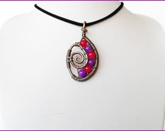 Rolled brim of the aluminum wire pendant neck pink and purple beads