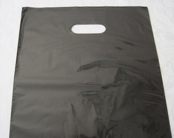 50 Black Bags, Plastic Bags, Gift Bags, Glossy Bags, Party Favor Bags, Shopping Bags, Retail Merchandise Bags, Bags with Handles 12x15