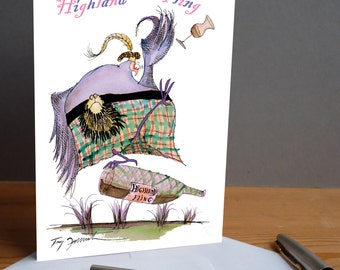 Highland Fling ! -  fun scots whiskey card from tony fernandes design