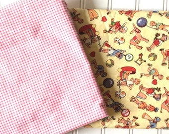 Michael-Miller-Time-To-Play-2-Marcus-Brothers-Ticking-Stripes-Red-Gingham-Flannel-Cotton-Fabric-By-The-Yard-Fat-Quarter-Bundle-Options