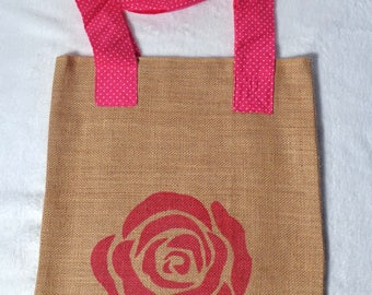 Bag of beach in Burlap and cotton handles