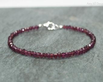 Rhodolite Garnet Bracelet, Sterling Silver, Rhodolite Garnet Jewelry, Minimalist, Layering Bracelet, Pink Gemstone Jewelry