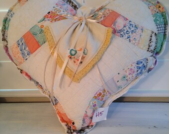 Heart Pillows with a vintage handkerchief bow