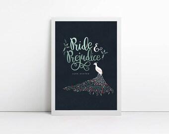 Pride and Prejudice poster - Personalised Print - Custom Print - Anniversary Gift - book lover gift - literature print - bookish