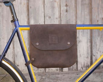 Leather bike bag / bicycle frame bag, shoulder bag - Bikegab - Dark