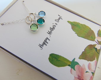 Mother's Day Gift, Mother's Necklace,Mother's Day Gift Card, Mom, Birthstone Necklace, Sterling Mother's Necklace, Gift for Mom, Grandma,