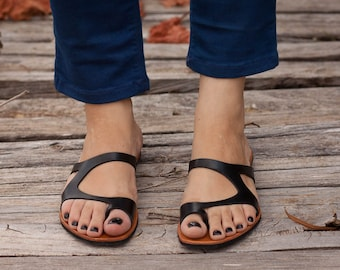 Black Leather Sandals, Black Sandals, Summer Shoes, Asymmetric Sandals, Flip-Flops , Free Shipping