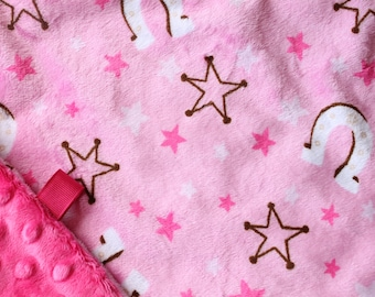 Minky Lovey Blanket Pink Horseshoe Print Minky with Hot Pink Dimple Dot Minky Backing - great for a new baby