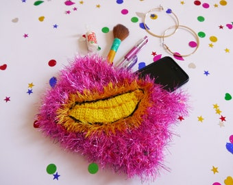 Furry crochet clutch, purse, make-up bag, pencil case, in pink, with banana design and palm print lininng, green zip