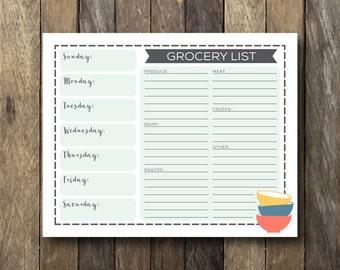 Printable Meal Planner - Instant Download - Weekly Meal Plan - Meal Planner Printable