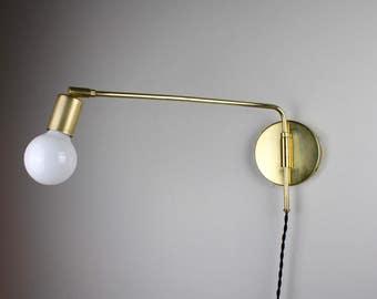 Swing Arm Sconce U2022 Arthur U2022 Plug In Wall Sconce U2022 Swing Arm Lamp U2022 Brass  Light U2022 Brass Wall Lamp U2022 Modern Wall Sconce