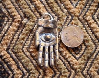 Silver Eye in Hand Pendant