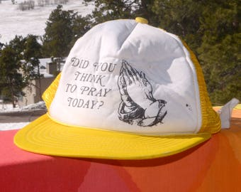 80s vintage trucker mesh hat did you PRAY today snapback yellow baseball cap rockstar church wtf