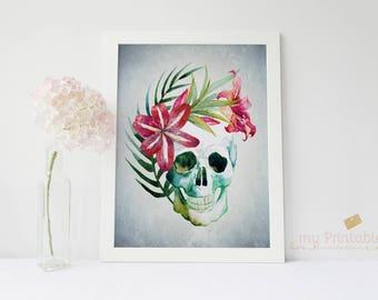 Floral Skull Print / Printable or Printed Sign