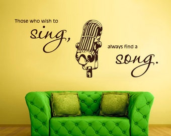 microphone wall decals microphone wall decor microphone wall sticker mic wall art (Z755)