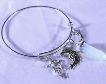 Bracelet, Opalite, Opaline, Silver Plated Adjustable Charm Bangle with Moon and Star Charms and Opalite Opaline Crystal