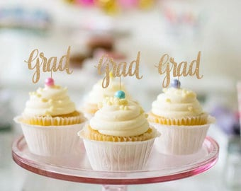 Graduation Cupcake Toppers - Set of 12 - Congrats Graduate 2018 Grad Toppers for Graduation Party, High School, College - Glitter