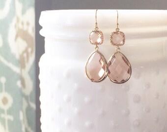 DAISY | Blush Bridesmaid Earrings | Blush  Teardrop Earrings | Blush Dangle Earrings | Blush + Gold Bridesmaid Earrings | Blush Statement