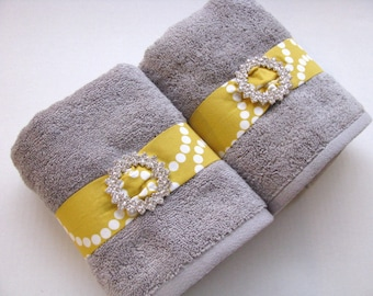 YOU PICK Custom Bling Yellow and Gray Towels, custom grey and yellow bathroom hand towel, yellow and grey bathroom, yellow towel, grey towel