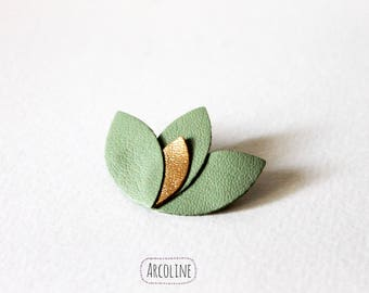 Lotus petal green and gold leather brooch