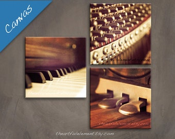 GET 20% OFF TODAY! Music room décor, Piano art, Canvas Wall art set, Musician gifts, Piano gifts, Music photography, Set of 3 / Piano set