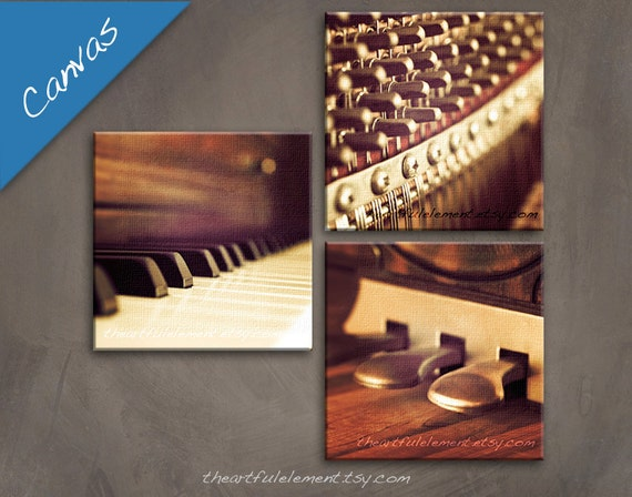 Music room décor, Piano art, Canvas Wall art set, Musician gifts, Piano gifts, Music photography, Set of 3 / Piano set