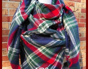 Monogrammed Blanket Scarf - Monogram Plaid Scarf - Monogram Plaid Blanket Scarf - Navy Red White Green