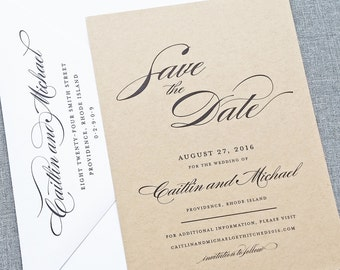 Caitlin Script Recycled Kraft Wedding Save the Date Sample - Rustic Recycled