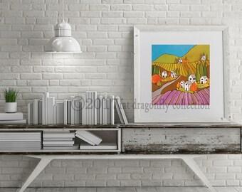 Lavender Village art print. Urban poster. Lavender wall art. Village art print. Urban Nursery. Urban decor. Gift for her.  Shanni Welsh