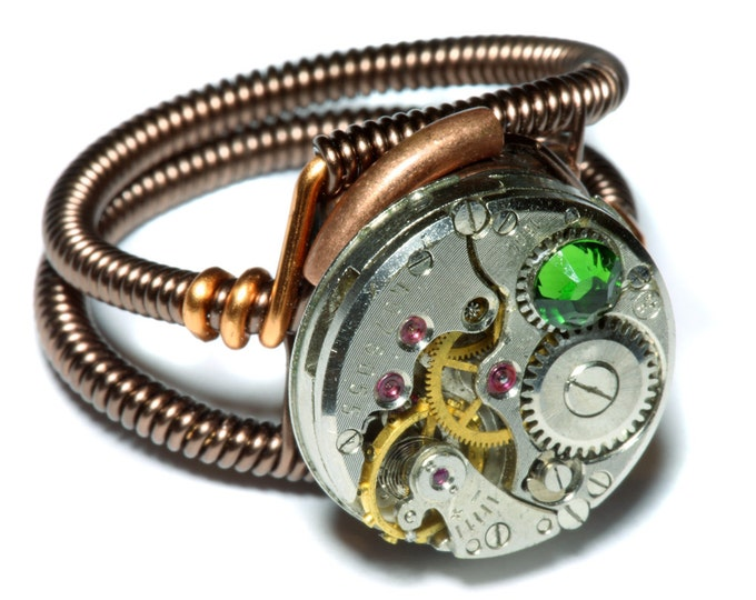 Steampunk ring, Steampunk Jewelry,  Antique Watch Movement  with fern green crystal