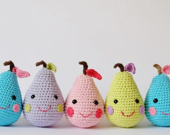 Crochet Amigurumi Happy Pears PATTERN ONLY PDF instant Download Stuffed Toy Gift Children Pear Toy